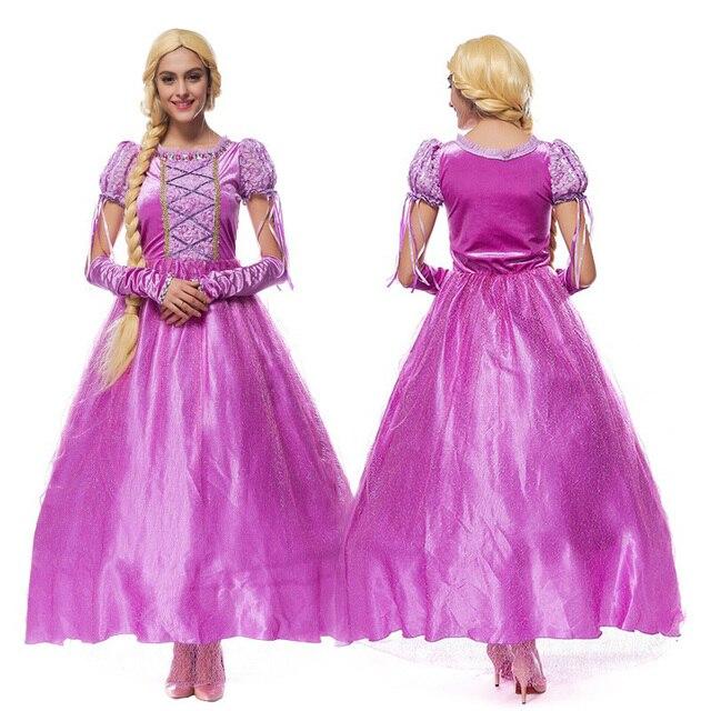 Adult Women Halloween Rapunzel Princess Costume Long Purple Vintage
