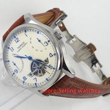 43mm PARNIS energy display flywheel HuDieKou automatic mechanical men's watch