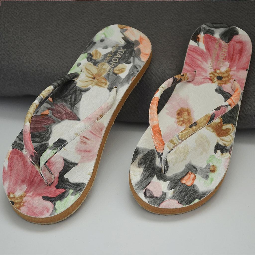 Women Slippers Sleeper Flip-Flops Flat-Bottom Beach Casual FASHION 501 Anti-Skid Print