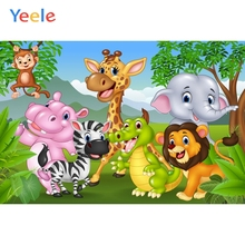 Yeele Children Party Cartoon Backdrops Zoo Animals Photography Background Customized Photographic Backdrop For Photo Studio