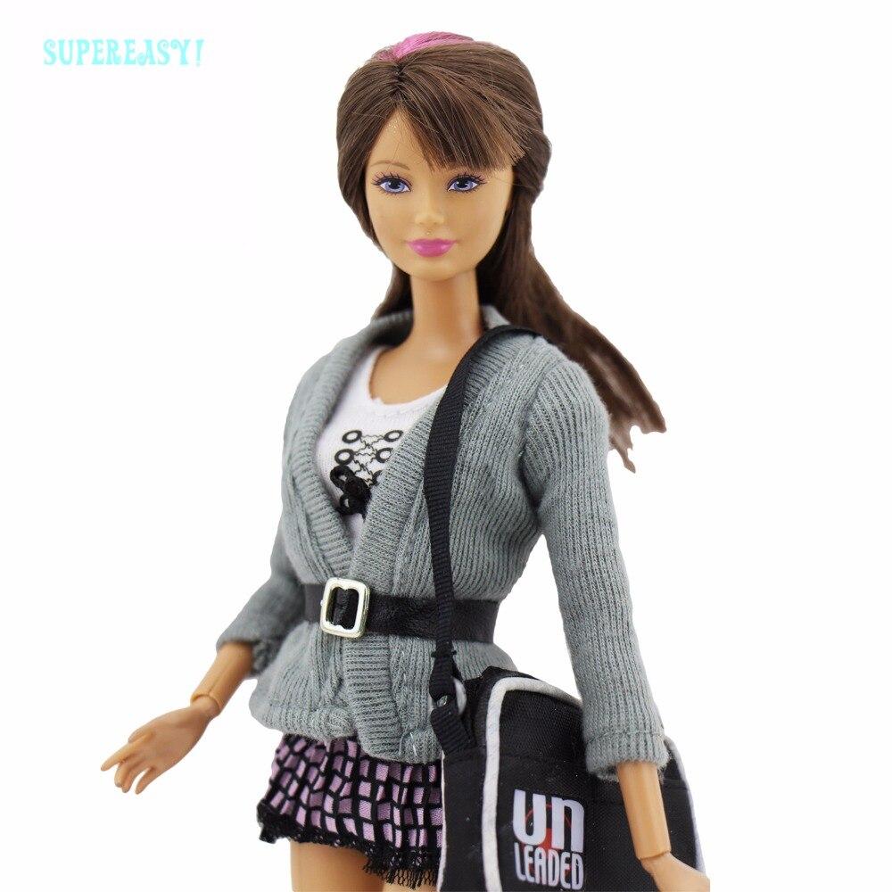 6in1 элегантный дизайн наряд кольчуга Рубашка с короткими рукавами Топы тартан клетчатая юбка сумка Носки Обувь Аксессуары для Барби FR Кукла ...