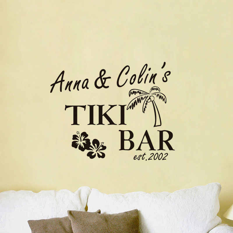 Tiki Bar With Custom Name Vinyl Wall Sticker Removable Lettering ...