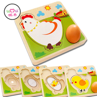 Multi Layer Chicken Hen Growing Up Process Wooden Puzzle Early Learning Educational Toys For Children Intelligence