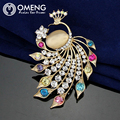 OMENG  Peacock rhinestone brooches for women Fashion Rhinestone Brooch Animal For Wedding Pins And Brooches For Women OXZ016