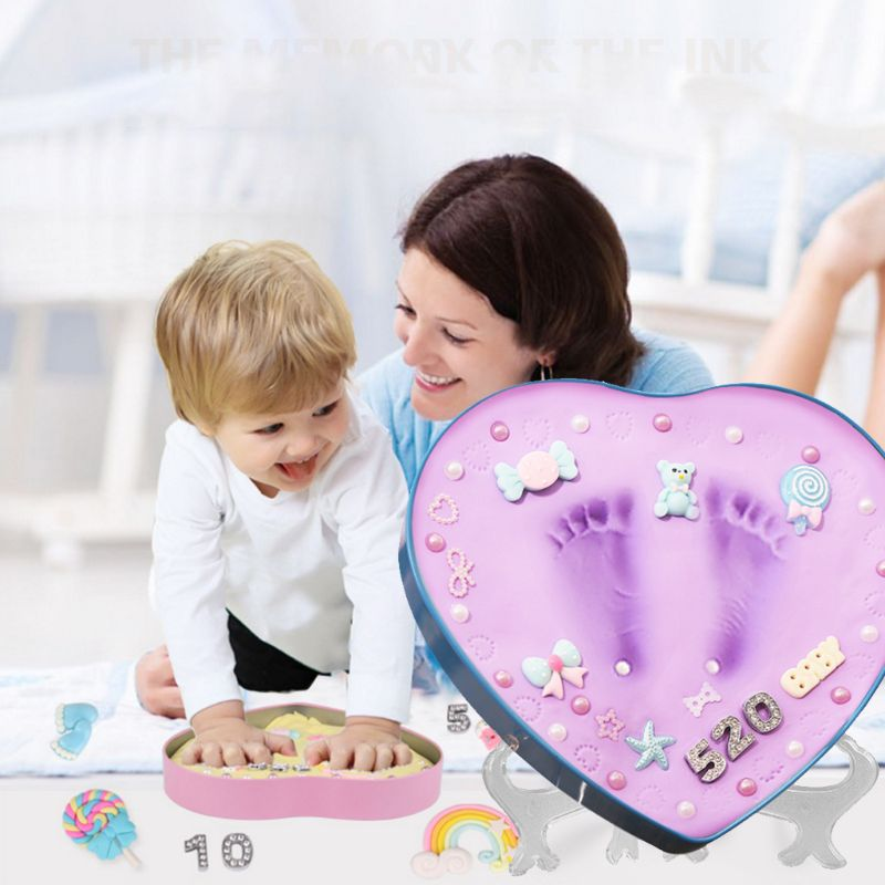 DIY 0-1 Year Baby Handprint Footprint Imprint Inkpad Kit Baby Souvenirs Mud Hundred Days Commemorate Clay Box Kids Growing