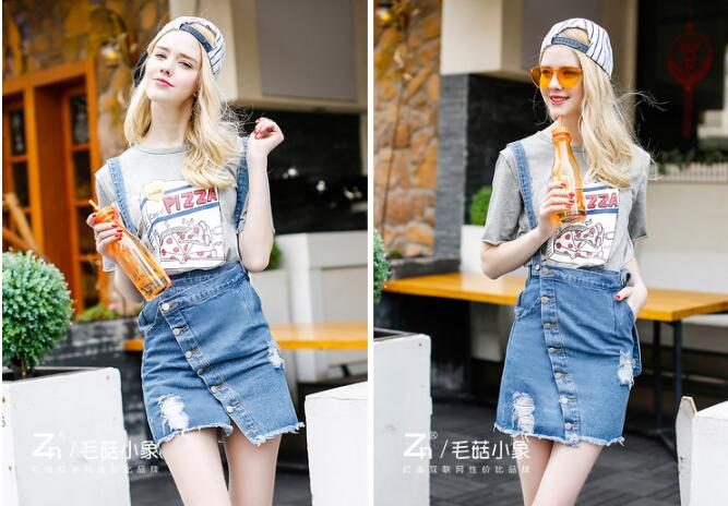 Women Skirts 2019 Summer Casual Solid A-line Above Knee Mini Empire New Hot Cowboy Skirt Pure Color Rivet Belt Large Size Female