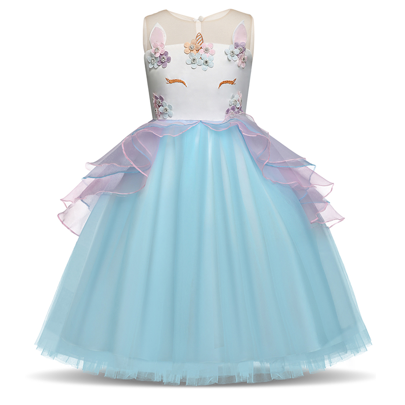 3 8T Years Fancy Baby Girl Fairy Blue Unicorn Dresses for Girls Unicornio Infantil Costu ...