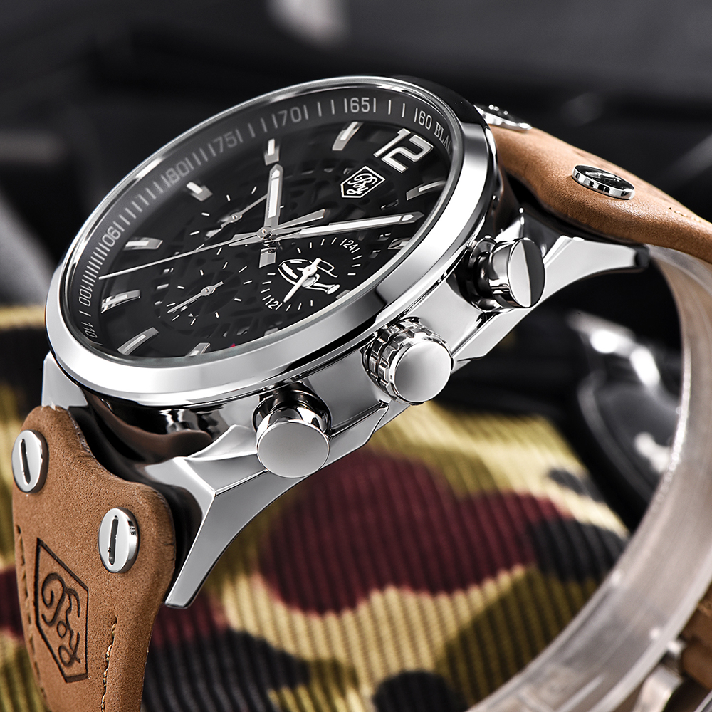 BENYAR Fashion Brand Military Quartz Men Watch Large Dial Chronograph Sport Casual Mens Watches Leather Male Relogio with Box fashion large dial casual creative leather quartz sport watch