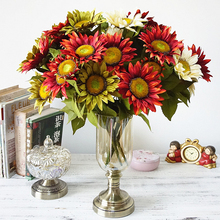 13 Heads High Simulation Oil Painting Big Bunch Plastic Sunflower Artificial Silk Sun Flowers Home Garden Christmas DIY Decor