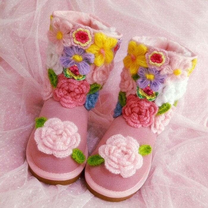 Fleurs d'hiver doux beauté bottes en cuir plat en cuir de vachette bottes à la main crochet fleurs chaussures en coton chaud