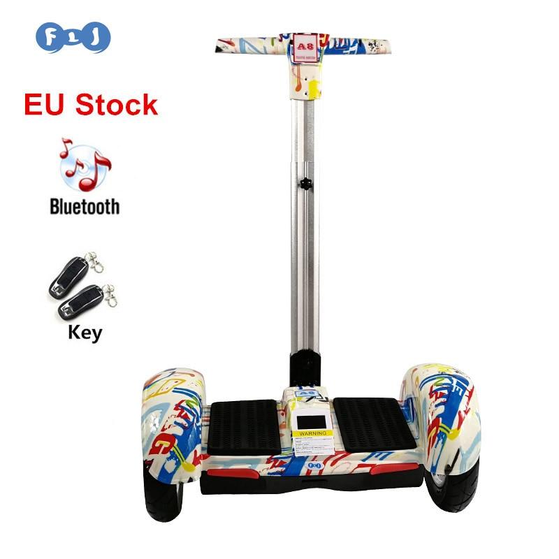 FLJ Hoverboard 10 дюймов два колеса самобалансирующий скутер Gyroscooter с ручкой стоящий баланс доска Электрический скейтборд дети
