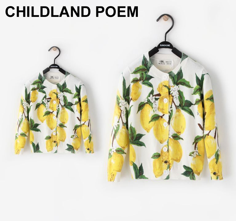 2016 autumn Mother and daughter clothes lemon printed knitted girls sweaters baby cardigan girls jacket family matching clothes