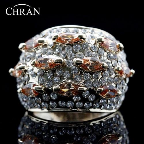 Chran Wholesale Luxury Gold Color SWA Element Rhinestone Surrounded Orange Crystal Ring Party Jewelry FREE SHIPPING DDFJRIL1005