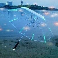 New 7 Color Changing Color LED Luminous Transparent Umbrella Rain Kids Women With Flashlight For Friends