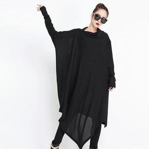 Image 3 - [EAM] 2020 חדש אביב חורף גבוה צווארון ארוך שרוול שחור סדיר Hem Loose גדול גודל ארוך שמלת נשים אופנה גאות JG636