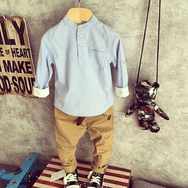 Nová móda 2016 Boys Shirts Pure Colour Mandarin Collar Bottom Babys - Dětské oblečení