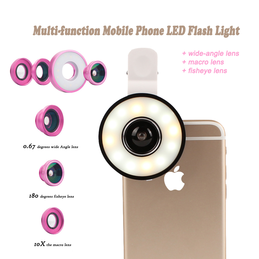 Mobile Phone LED Flash Light Adjustable Fill Beauty Selfie Ring light + Wide Angle Macro Fisheye Lens for iPhone Samsung Camera smart phone grip stabilizer cage with wide angle macro lens bluetooth for iphone samsung htc universal adjustable camera housing
