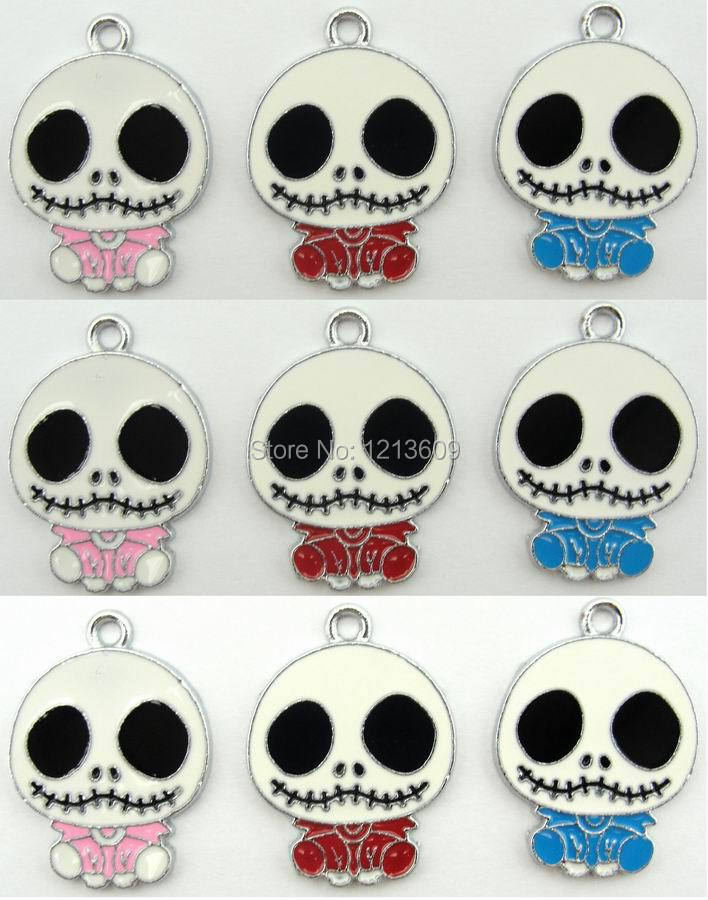 Lovely 300pcs/lot Ghost Head Metal Charm Pendants Making DIY Kids Christmas Gifts free shipping