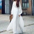 Vestido de Verano mujer 2016 Nueva Marca de Moda de Las Mujeres Con Cuello En V Manga Larga de Gasa Vestido Maxi Elegante Del Partido Blanco Vestido Largo