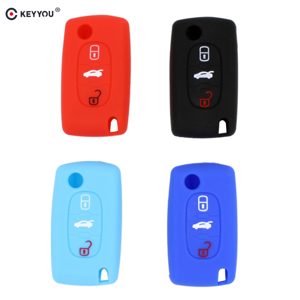 KEYYOU 3 Button Silicone Remote <font><b>Key</b></font> Case Holder Protect Cover For <font><b>Peugeot</b></font> 206 208 207 3008 308 RCZ 508 408 407 307 <font><b>4008</b></font> image
