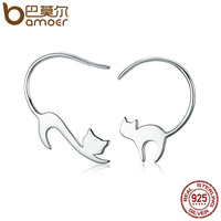 BAMOER Animal Collection 925 Sterling Silver Cute Napping Little Cat Drop Earrings For Women Sterling Silver