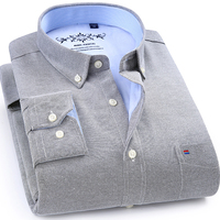 Winter Autumn Spring mens work shirts striped solid color Long sleeve social men dress shirt oxford male shirts Plus size 4XL