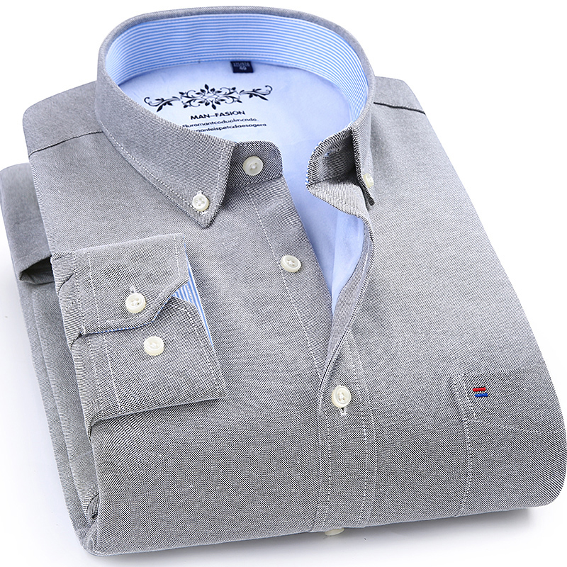 Winter Autumn Spring mens work shirts striped solid color Long sleeve social men dress shirt oxford male shirts Plus size 4XL in Dress Shirts from Men 39 s Clothing