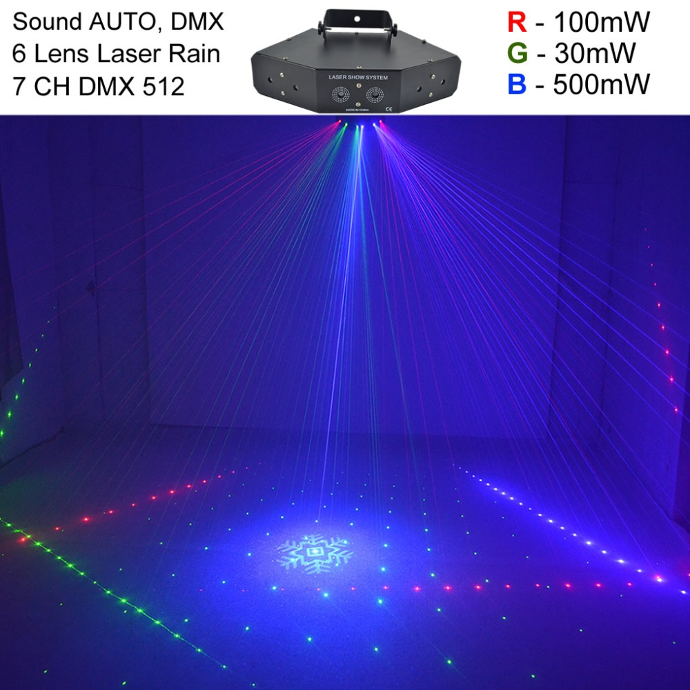 цена AUCD 6 Heads 7CH DMX Red Green Blue RGB Full Color Beam 16 Patterns Laser Light Home Party DJ Stage Lighting Z6F16 онлайн в 2017 году
