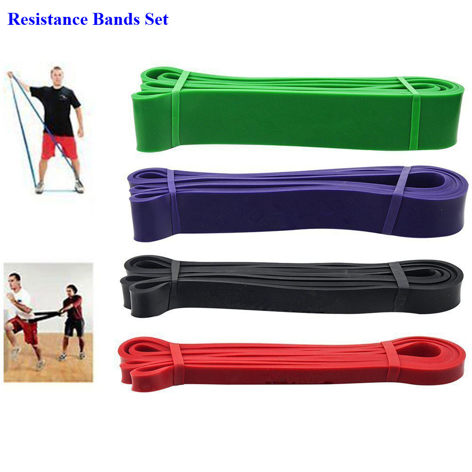 1 Set Lateks Alam Karet Elastis Kebugaran Resistance Band Crossfit Kekuatan Daya Lifting Up Gym Pelatihan Perlawanan Band