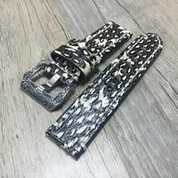 Handmade Luxury personality 20mm 22mm 24mm 26mm Genuine Python leather pattern Watch Band Wristband Universal Watchband Strap