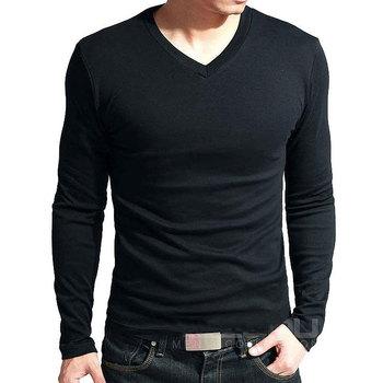 Мужская хлопковая эластичная футболка с длинным рукавом и V-образным вырезом