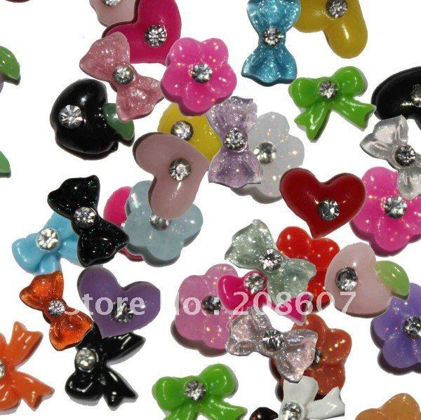Nail Art Decoration 3D Nail Art  Sticker 100pcs/lot Resin Coulorful Batterfly/Flower /Roses/Fruits With Diamond Freeshipping