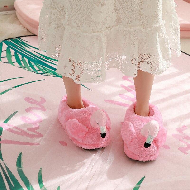 Coton Rose Pc Maison Flamingo Peluche En Chaussures De rouge Pantoufles Intérieur Autruche Mignon Animé Dessin 1 gBqtwag