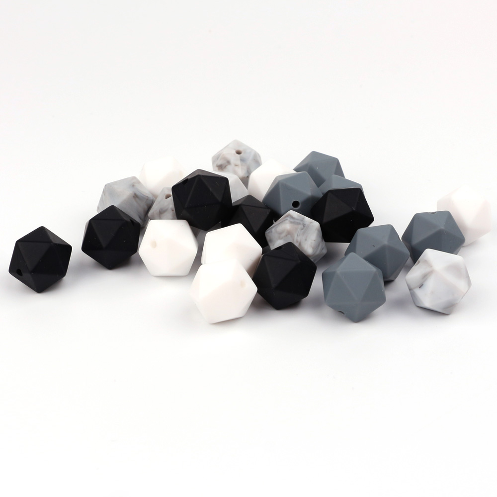TYRY.HU 20pc Icosahedron Beads Baby Teething Beads Food Grade Nursing Silicone Chew Necklace Making Teething Silicone 14 Mm