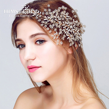 Himstory Luxury Handmade Wedding Hair Ornaments Pearl Crystal Tiara Headbands Vine Hairbands Jewelry Accessories