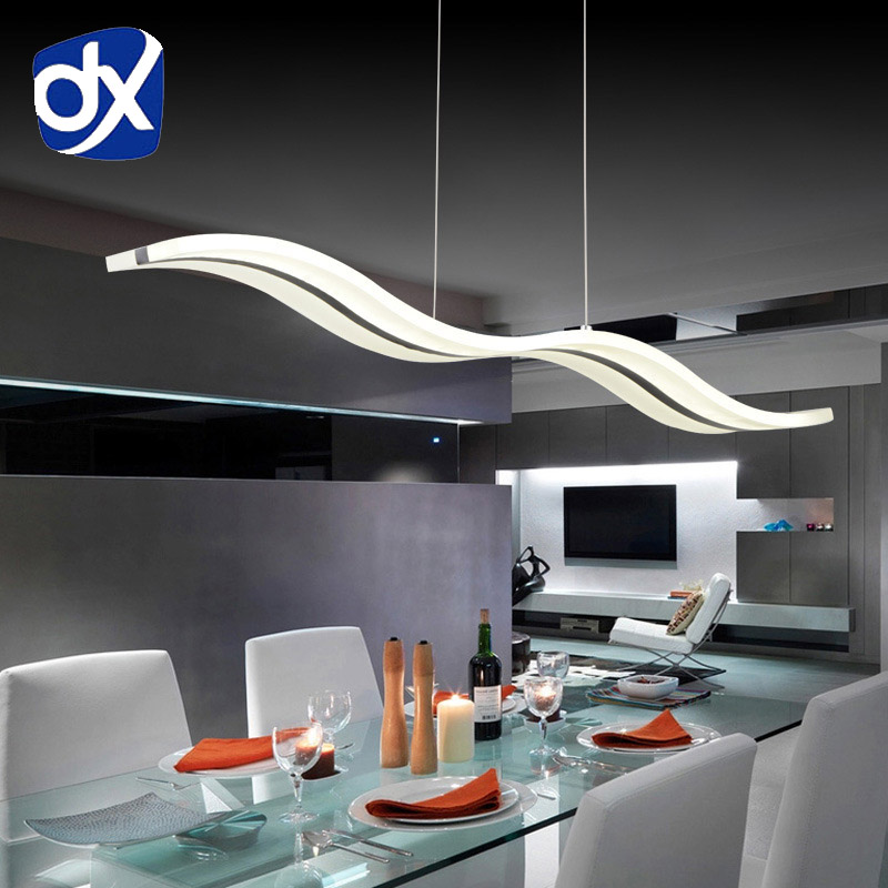DX Modern Led Pendant Light Wave Lamp Living Room Lights Dining Room Nordic Creative Home Decor Stainless Steel Luminaire