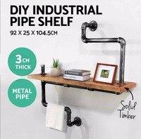DIY промышленная ванная полка для хранения труб/вешалка для полотенец деревянная настенная плавающая витрина деревенская домашняя спальня