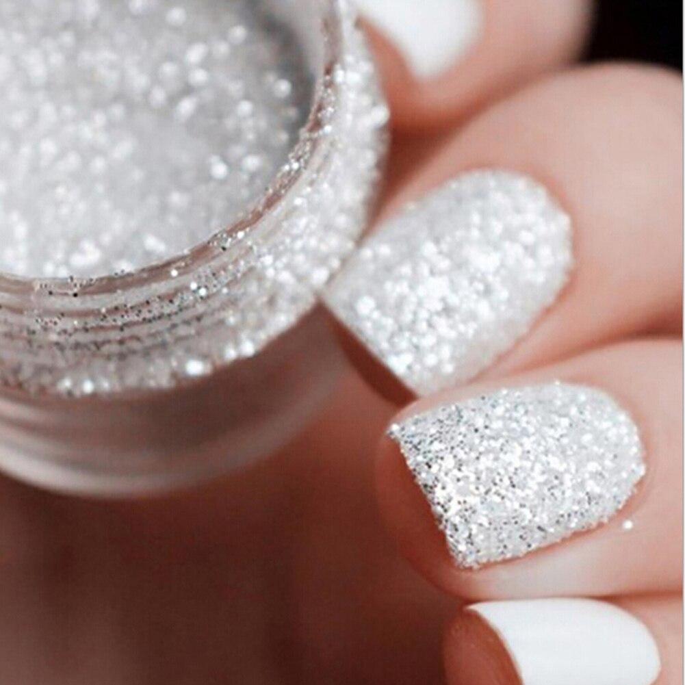 10ml Shiny Silver Nail Glitter Sequin White Glitter Powder Nail Art ...