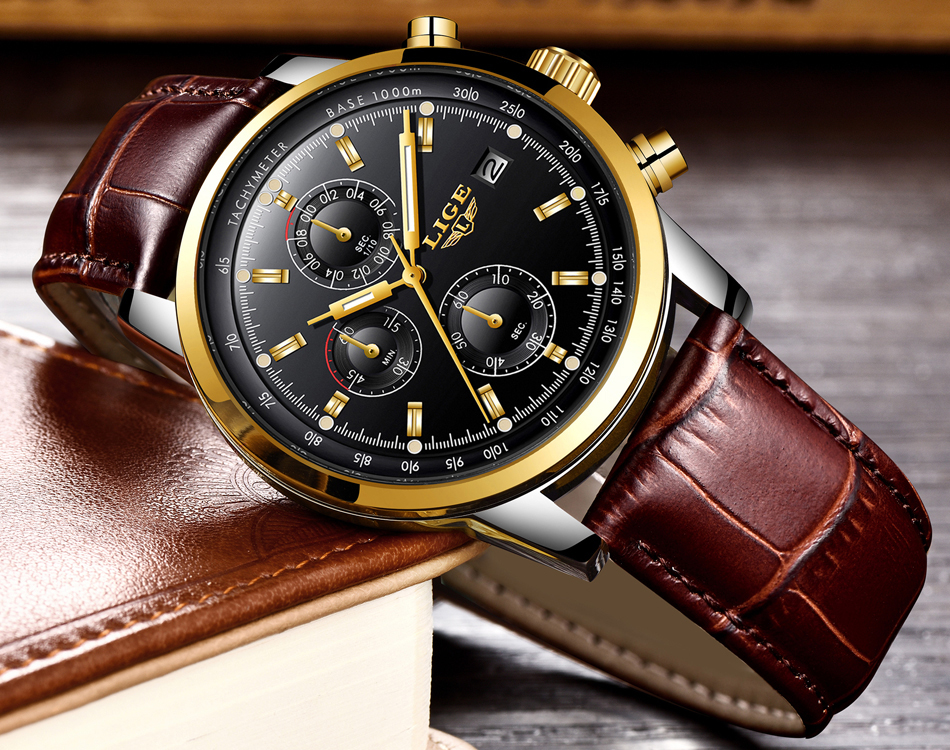 2018 LIGE Mens Watches Top Brand Luxury Leather Quartz Watch Men Military Sport waterproof Gold Watch Clock Relogio Masculino