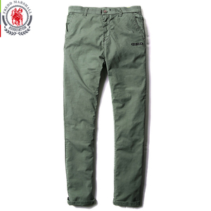 Image 2 - Fredd Marshall 2017 New Fashion Solid Color Patchwork Washed Casual Pants Men Straight Cotton Pants Brand Man Long Trousers 3513