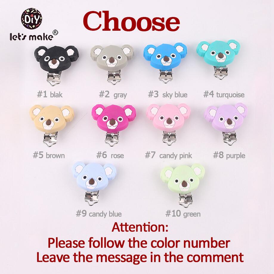 Let's make Pacifier Clip Of Cartoon Animals Koala 10pc Silicone Teethers DIY Nursing Soother Clips Chains BPA Free Baby Teethers