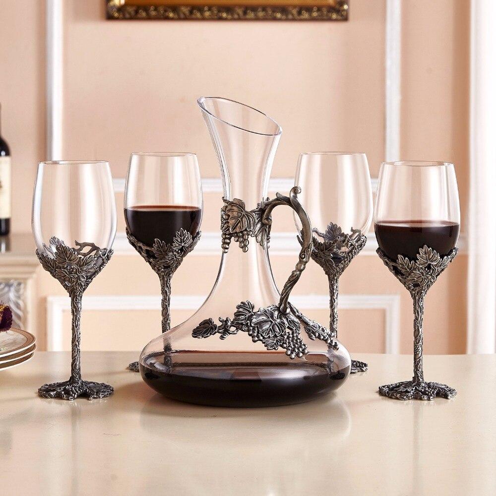 Creative Enamel Wine Glass Goblet Crystal Glass Bar Set 4x 12oz 350ml Wine Glasses 1x 52oz