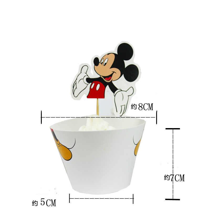24pcs Mickey Mouse tema involucri del bigné & toppers bambini festa di compleanno forniture casse del bigné della torta liner forniture decorazione di una torta