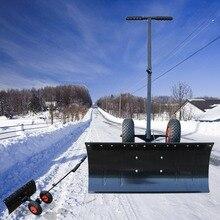 Прочный Профессиональный нажим руки, лопата с колесами анти-ржавчина Сталь Снега Открытый сад для уборки снега инструменты