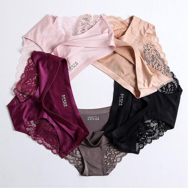 Women's Sexy Lace Panties Seamless Underwear Briefs Nylon Silk for Girls Ladies Bikini Cotton Crotch Transparent Lingerie 2