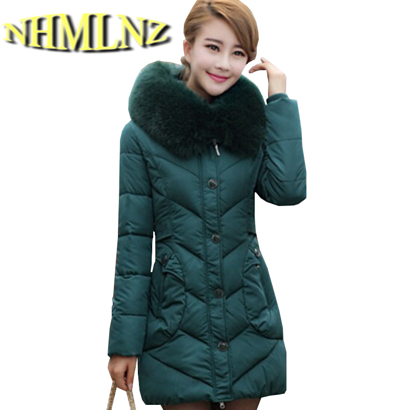 Latest Winter Fashion Women Coat Elegant Hooded Fur collar Thick Warm Down jacket High-end Slim Big yards Medium long Coat G2221 цены онлайн