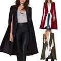 2016 Осень Женская Мода 3 Цвета Открытым Стежка Плащ Траншеи пальто Outwears Пончо Длинное Пальто Пальто Для Женщин Макси пальто