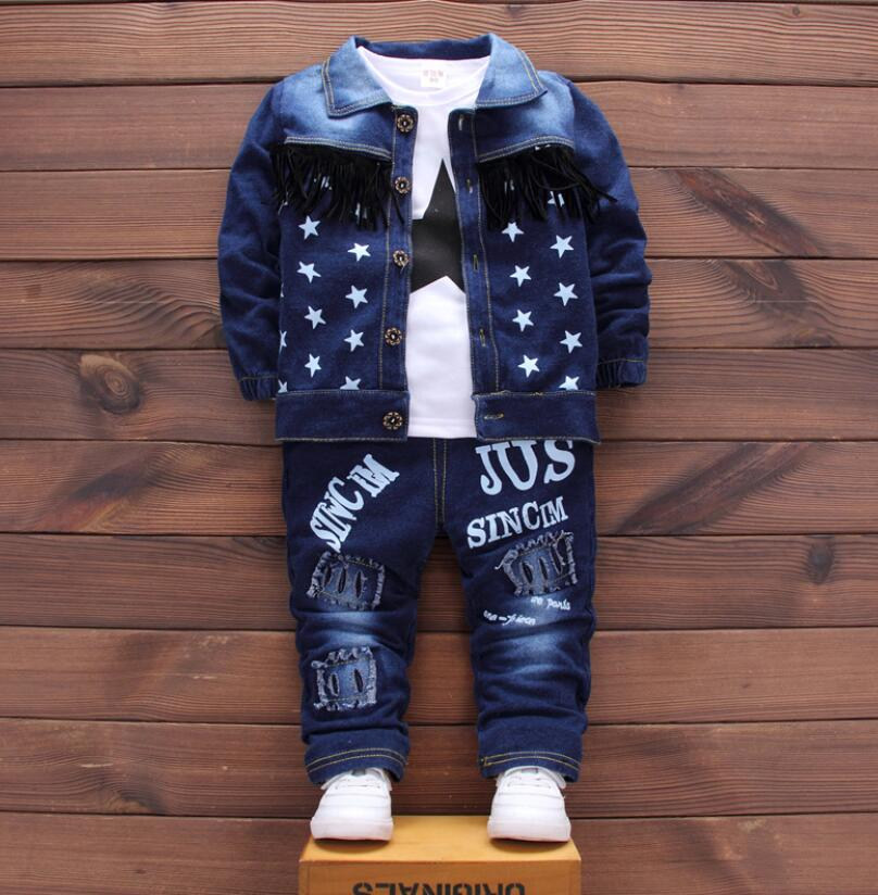 new 2018,baby boy clothes,children fashion clothing set,baby sport suit,boy denim 3 pcs set T-shirt+coat+pants set for kids 1-3T baby boy clothes 2017 brand summer kids clothes sets t shirt pants suit clothing set star printed clothes newborn sport suits