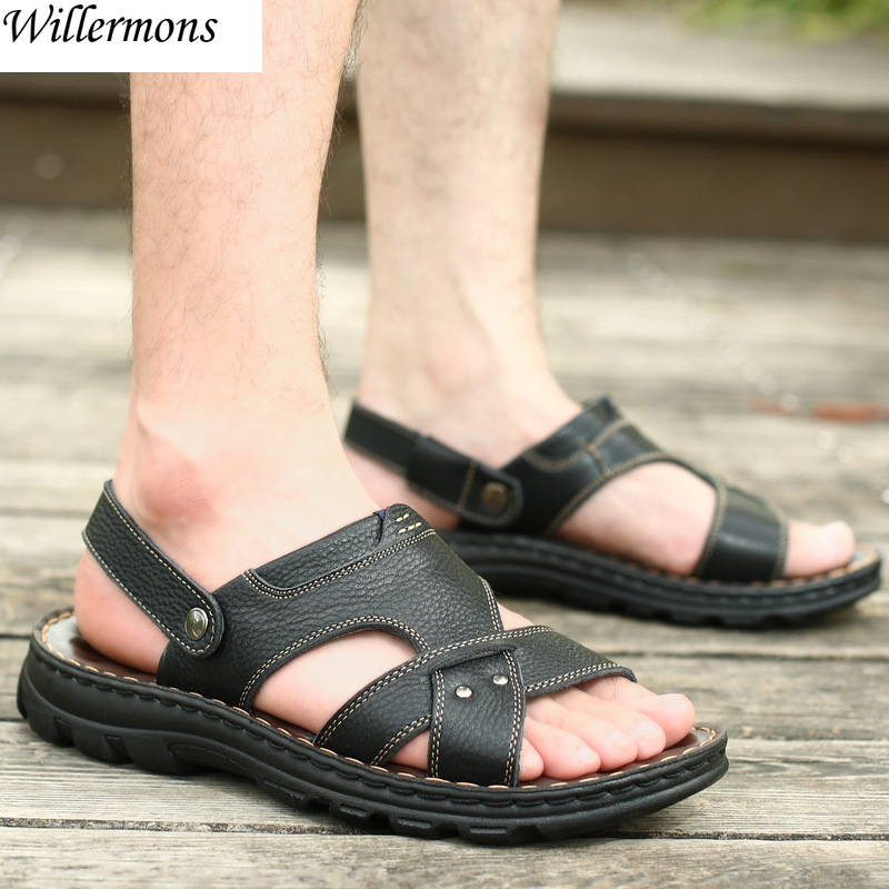 Summer Mens Outdoor Genuine Cow Leather Beach Sandals Shoes Men Fashion Casual Slippers Flip Flops Sandalia Masculina