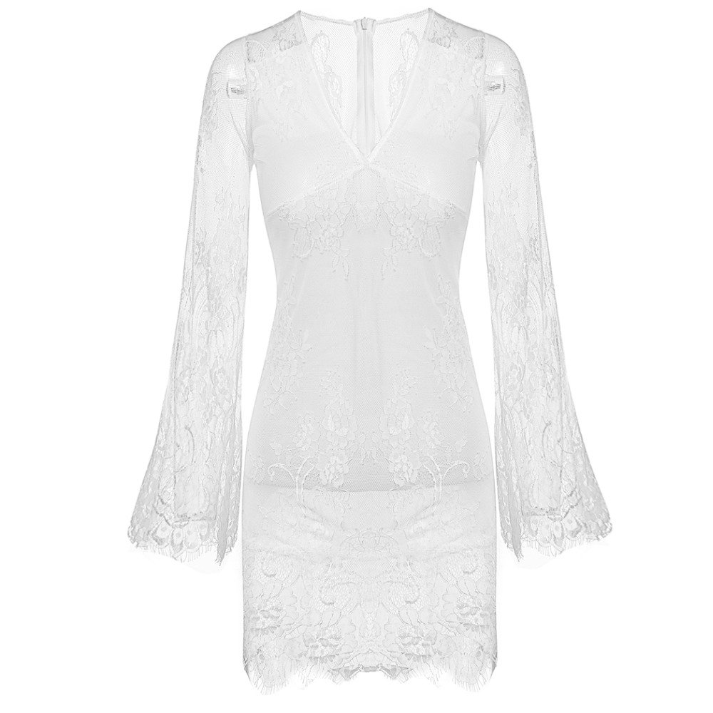 8d06e79c7ba48 Women Deep V neck White Lace Dress Sexy See Through Flare Sleeve Dress  Beach Wear Mini Dress-in Dresses from Women's Clothing on Aliexpress.com |  Alibaba ...